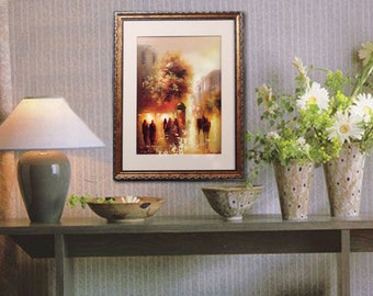 Modern Oil Painting on canvas - Town at Evening -  wall art painting  Oil on canvas painting framed cityscape art painting , handmade