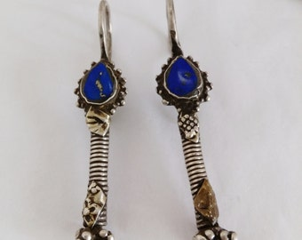 "Old Uzbek Fine Silver And Lapis 2.75"" Hook Earrings 14 Gauge Ethnic Tribal Silk Road Jewelry"