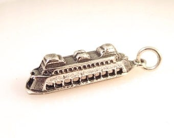 Sterling Silver 3-D WA STATE FERRY Boat Charm Pendant Staten Island Washington Waterfront Pier Car Passenger  .925 Sterling Silver New NW08
