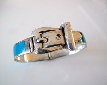 Vintage Teal Enamel and Sterling Silver Buckle Bracelet made in Italy