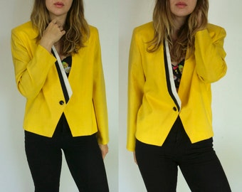 Vtg Jenni Sport Linen Blazer || Yellow Vibrant Working Girl Jacket || FREE SHIPPING in USA