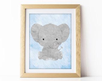 Nursery Art Elephant, Elephant Nursery Decor, Elephant Nursery Art, Printable Nursery Art, Elephant Baby Gift, Boys Room Decor