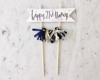 Cake Topper / Marble Print Paper / Modern Calligraphy / Custom Hand Lettered / Navy Blue Gold / Hand Made Mini Tassels / Birthday Wedding