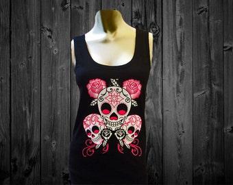 Floral Skulls Black Tank Top