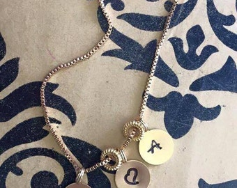 Initial charm necklace gold and silver edition