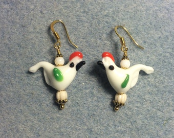 White with red crest lampwork bird bead earrings adorned with white Czech glass beads.