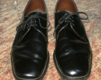 Mens Vintage Full Black Leather Oxford Shoes Size 8.5