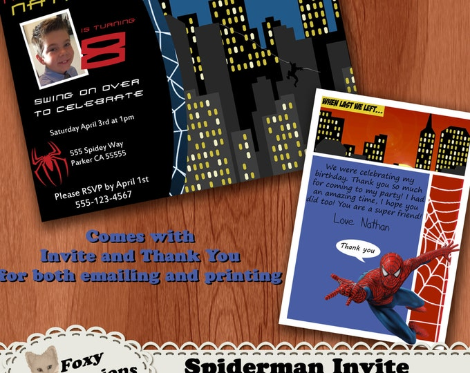 Spiderman Birthday Invitations and free thank you cards . Comes in 5x7 or 4x6. You can add a photo of your child. Can be emailed or printed.