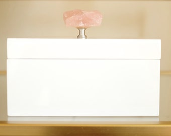 White Lacquer Boxes with Rose Quartz Knobs