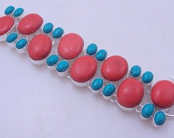 Turquoise stone .925 silver handmade Bracelet Jewelry - free shipping (f-332)