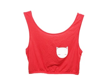 Cat Crop Top: Salmon Color