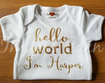Gold Girls Baby Hello World I'm Personalised Vest Baby Grow Babygrow Cake Smash Photo Prop Newborn Gift