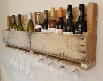 Reclaimed pallet wood wine rack holds 12 bottles and 8 glasses Natural paint your own