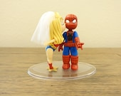 Blonde Wonder Woman and Spider Man Cake Topper. Wedding Cake Topper. Wonder Woman & Spider Man