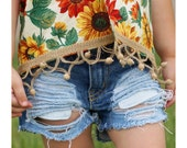 Danica Shorts - baby , toddler , kids - Girl's hand-distressed denim shorts (Sizes 6m-12y) girls jeans shorts , custom girls clothes