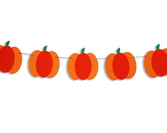 Pumpkin garland, Pumpkin banner, Pumpkin bunting, Fall decoration, Autumn decoration, Halloween