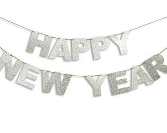 HAPPY NEW YEAR Garland, Happy New Year Banner, Holiday Banner, New Year decoration, Happy New Year Glitter Garland