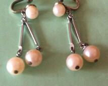 Beautiful faux pearl screw earrings dangle earrings