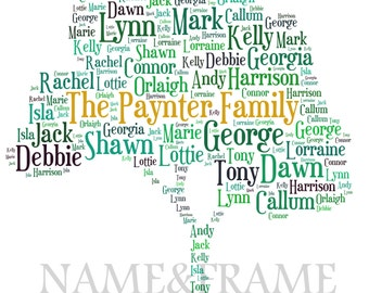 Personalised Family Tree Print - Christmas/Birthday/Anniversay Gift
