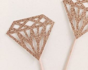 12 Sparkly Rose Gold Diamond Handmade Cupcake Donut Toppers for Bridal Showers, Weddings etc
