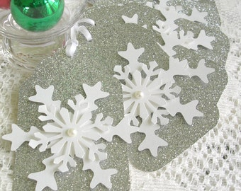Silver Christmas Tags - Large Snowflake Gift Tags - Set of 6 Pearl Center Glitter Holiday Tags