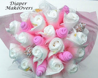 Diaper flower bouquet pink rose bouquet by diapermakeovers for Pink diaper bouquet