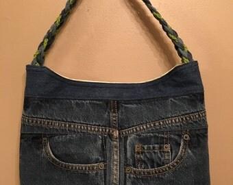 Handmade Front To Back Upcycled Denim Handbag, Green Chevron Interior