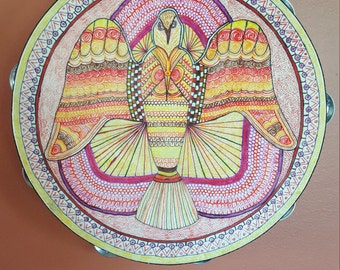 Original pen and ink drawing on a 10 inch tambourine