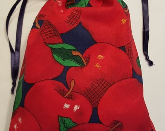 Apple Print, Cotton Fabric Drawstring Bags/ Teacher Gifts/ Gift Bags