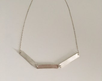 Three bar necklace made of fine silver clay with sterling silver chain