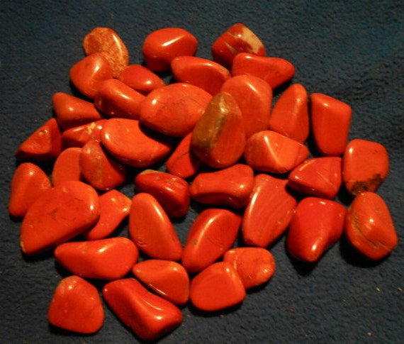 Red Natural Stones : Red jasper tumbled and polished natural stone from