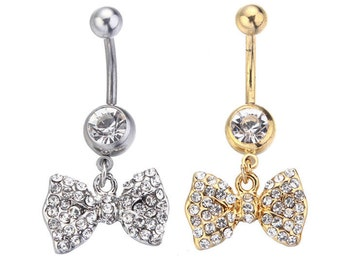 Belly Button Ring Gold Or Silver Bow One ONLY