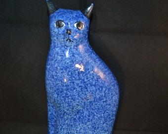 """Cobalt blue ceramic cat figurine, 10"""" x 5"""" x 2"""""""