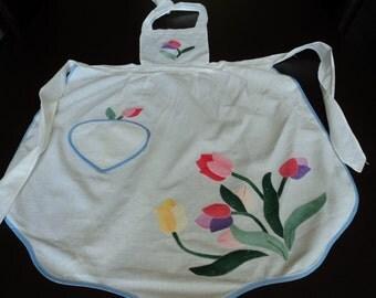 French vintage cotton appliqued apron (02417)