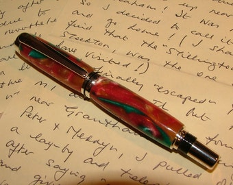Chrome plated, handcrafted Rollerball Pen in acrylic. Lovely gift. (Item 657)
