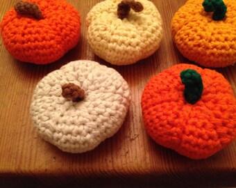 Set of 5 Halloween/Thanksgiving crochet pumpkins