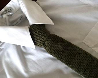 Knit Khaki Necktie, Retro Necktie, Crochet Necktie, Green Necktie, Skinny Necktie, Square Edge Necktie, Seamless Necktie, Mens Necktie