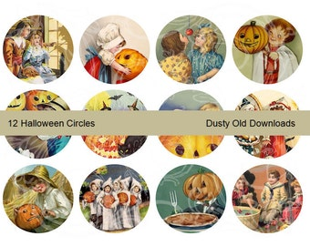 12 Halloween 2-Inch Circles, Digital Download
