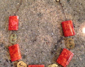 Apple coral necklace, red, brick red, mixed metal, brass, beaded necklace, statement necklace,