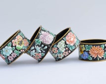 Enamel Brass Napkin Rings Vintage Napkin Rings Set of 4