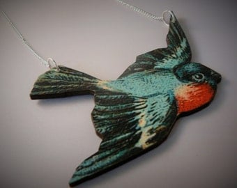 large rockabilly swallow necklace 10cm wide statement