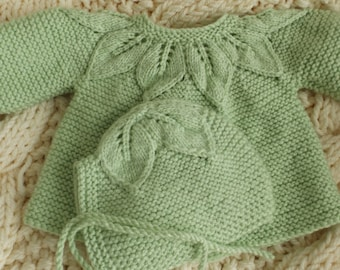 3-6 months together 2 parts Apple green girl with bonnet.