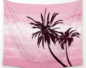 Pink Tapestry, Palm Tree Tapestry, Wall Tapestry Nature, Dorm Decor, Coastal Decor, Beach Tapestry, Modern, Apartment Decor, Pink Wall Decor