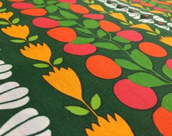 German vintage fabric 50cmx120cm Dekoplus Prellwitz flowers colorful Green