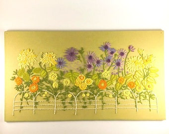 BIG Vintage Flower Crewel Large Embroidery Wall Hanging Flowers With Fence Large Crewel Green Orange Yellow Floral Home Decor