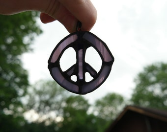 Stained Glass Peace Sign Necklace