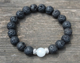 Lava Stone Bracelet,8mm Beads,Volcano Lava Stone Bracelet,Man,Woman,health,Relieve,Protection,Yoga,Stretch,Men,Women,Protection,Meditation