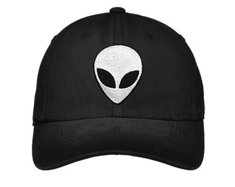 Alien Hat | Embroidered (Faded baseball cap) Edgy Goth Nasa Tumblr Space NASA Roswell Moon Child Galaxy