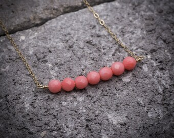 Coral necklace, coral jewelry, bar necklace, natural stone necklace, pink coral necklace, dainty necklace, simple necklace, gift under 50.