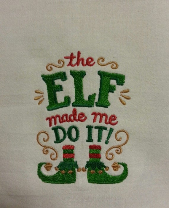 Funny Embroidered Holiday Dish Towel